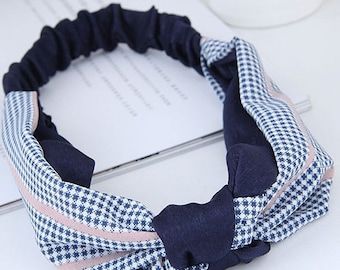 Summer Grid Knotted Fabric Elastic Headband / Hair Tie
