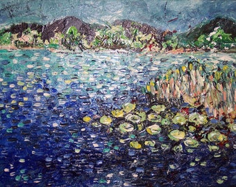 lake painting Abstract original art landscape painting lake oil art blue green pond lake oil painting modern oil landscape purple blue green