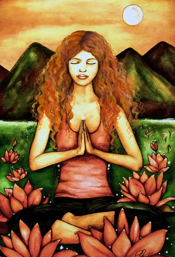 yoga art print curly red hair by Claudia Tremblay water color