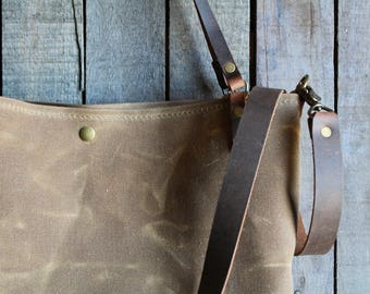 waxed canvas tote, large canvas tote, crossbody waxed canvas tote, tote bag, large tote, waxed canvas bag, waxed canvas crossbody bag