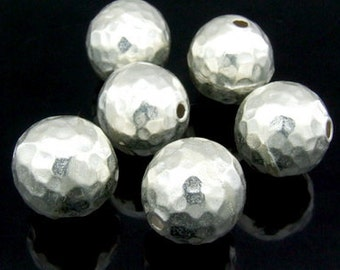 KV-002 thai karen hill tribe handmade silver 2 medium hammered round ball bead