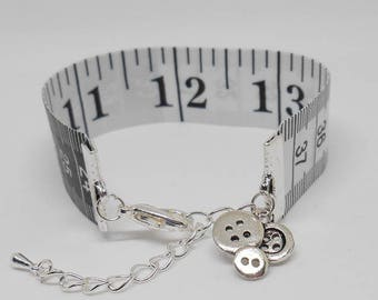 Retro Tape Measure, Bracelet for Quilter, I Love Crafting Gift, Unusual Bangle, Black & White Ruler, Number Markings Cuff, Adjustable Design