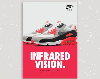 Nike Air Max 90 Infrared OG A2 Limited Edition Sneaker Poster Art Print
