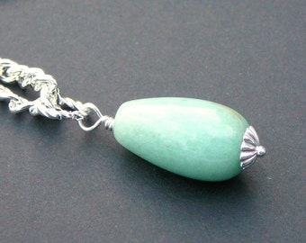 Aventurine Wire Wrapped On A Silver Plated Chain - Lucious Forest