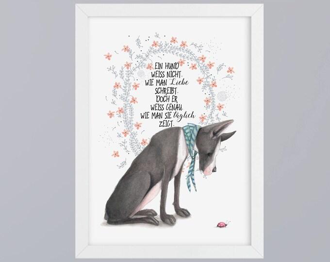 Dog and love - unframed art print