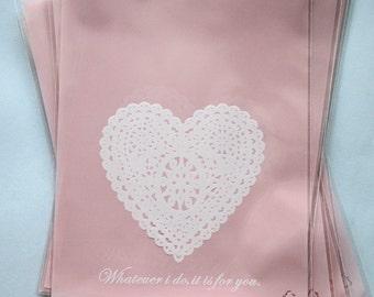 Heart Doily Plastic Bags