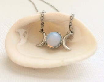 Opalite Moon Phase Necklace - Moon Jewelry - Moon Necklace - Healing Crystal - Moon Stone - Yoga Jewelry - Metaphysical - Opalite Pendant