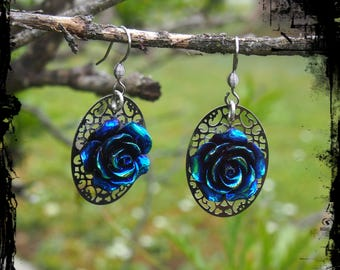 Oil Slick Rose Dangle Earrings -Ready to Ship - Gothic Iridescent Vampire Victorian Surgical Steel