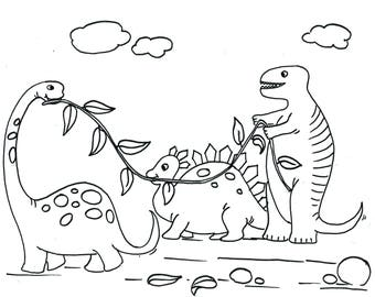 Pre-Drawn canvas for painting - Marching Dinosaurs