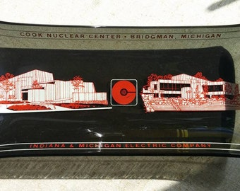 "Vintage Houze Glass ""Cook Nuclear Plant"" Smoked Glass Dish/Tray"