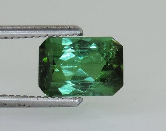 2.6 cts faceted blue green tourmaline octagon cut afghanistan