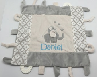 Personalized baby boy taggy blanket, monogram baby gift, gray grey elephant, custom baby gift, teething blanket, baby toy, boy gift