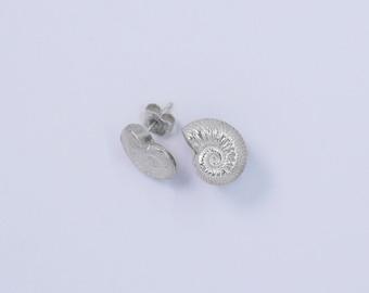 Handmade silver ammonite stud earrings
