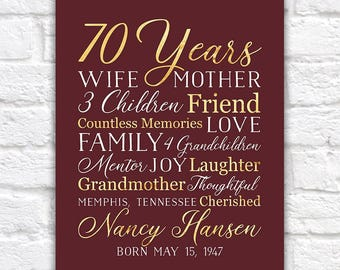 70th Birthday Gift for Mom, Grandma, 70 Year OId, Born 1948, Grandmother, Mother in Law, Mother Gift, Moms Birthday, Bday Party Wine | WF558