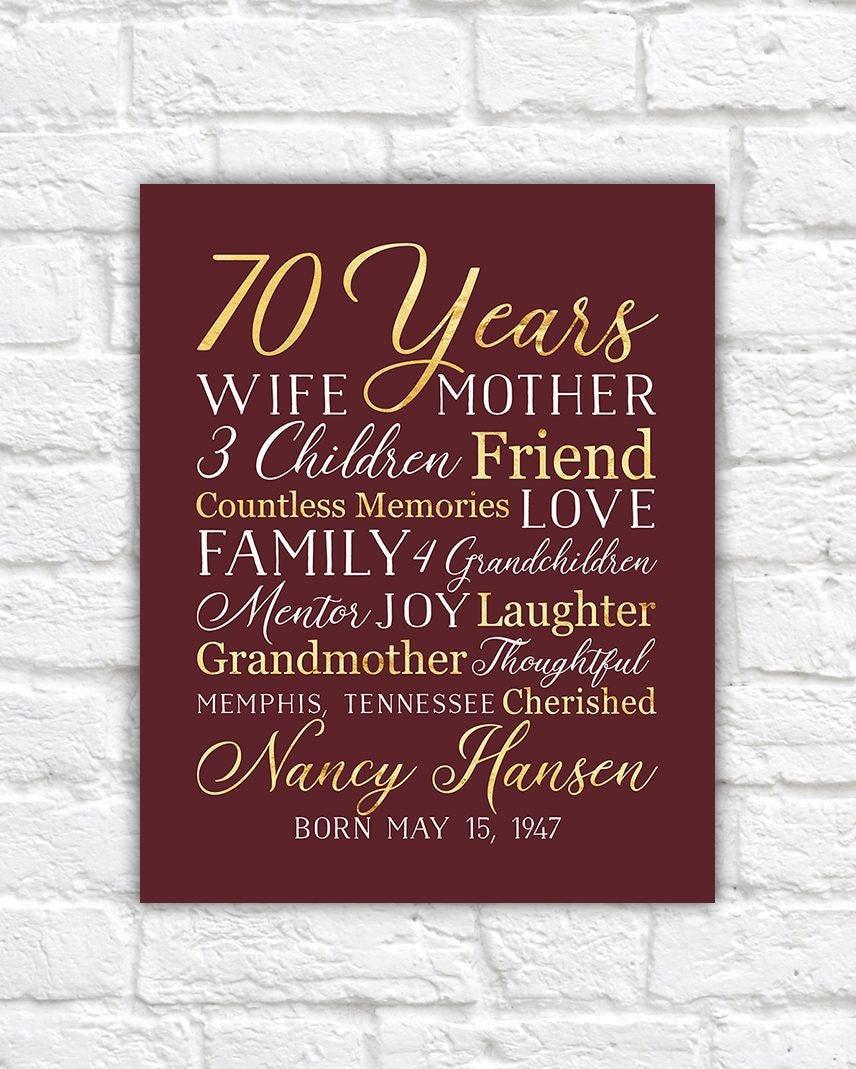 70th Birthday Gift For Mom Grandma 70 Year OId Born 1947