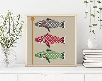 PATTERN: Koinobori (carp), Japanese Koinobori fish, Modern Cross Stitch Pattern, Cute Cross Stitch Pattern, Instant Download PDF
