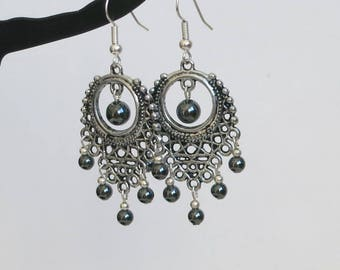 Earrings chandelier, natural hematite, black beads, silver jewelry, romantic and chic earrings.