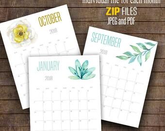 "2018 Wall Calendar, Printable Watercolor flowers calendar, 8"" x 10"" Each month, A101"