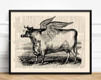 Holy Cow Wall Art, Funny Boyfriend Gift, Unique Gift Print, Cow Poster, Friends Not Food, Christmas Gifts, Teen Boy Print Gift, Wall 091