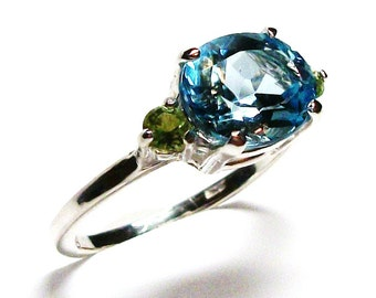 "Topaz, topaz and peridot ring, topaz accent ring,  blue green, anniversary,  s 7  ""Lazy summer afternoon"""
