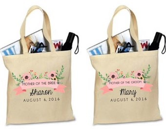 SET OF 2. MOTHER of the Bride. Mother of the Groom. Mother of the Bride Tote. Personalized. Tote. Bag. Totes. Bags.