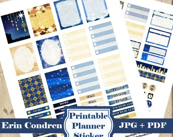 STARRY NIGHT Planner Stickers Kit – Star Blue Printable Planner Stickers - Erin Condren Planner Stickers - Monthly Weekly Stickers DOWNLOAD