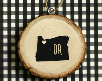 Personalized City / State HOME Wood Christmas Ornament