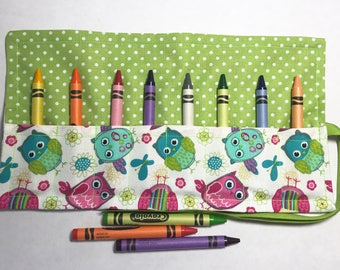 Crayon Roll Up Crayon Holder Owl Medley On Lime - Holds 8 Crayons
