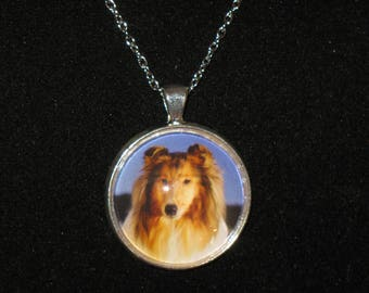 Collie Dog Breed Glass Cabochon Silver Pendant Necklace 24 inch
