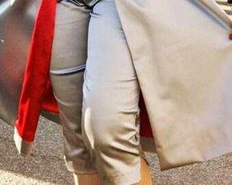 Stretch SIlver Satin Capri Pants
