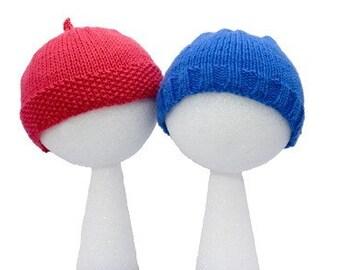 Easy Child's Caps - Two Styles - Basic Knitting Pattern PDF