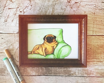 Fat Pug Art Print - Pug Lover, Gift for Best Friend, Pug Home Decor, Funny Pug Art, Gift For Dog Lover