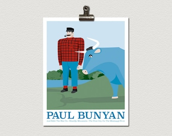 Paul Bunyan and Babe Bemidji Minnesota Roadside Attraction Illustration Poster Print