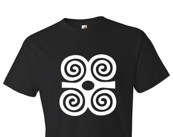Dwennimmen Adinkra Symbol // Men's Black T-shirt // West African // Humility and Strength