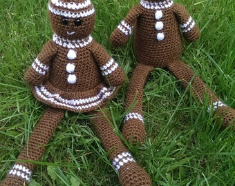 Crochet Pattern, Gilbert and Gertie Gingerbread, PDF with tutorials, UK terms