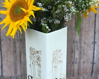 Personalized Ceramic Vase with initials and Wedding Date. Stamped flower design.