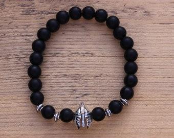 Mens Bracelet Natural Stones Knight Helmet Bracelet Lava  Onyx