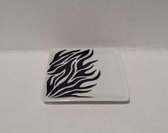 SALE : Zebra,  handpainted small square plate
