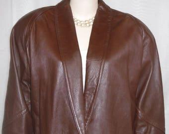 Vintage Jacqueline Ferrar Large Soft Brown Leather Jacket Coat Shoulder Pads