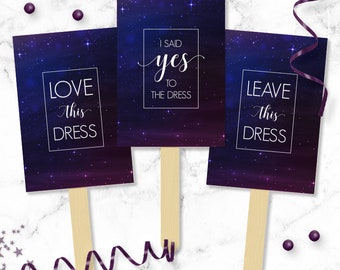 Galaxy & Celestial Say YES To The Dress Paddles - Wedding Dress Shopping Signs - Yes No Paddles - Instant Download