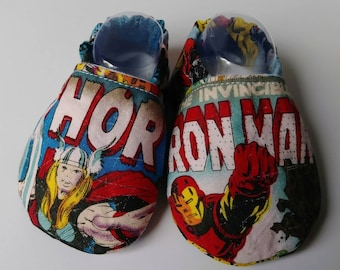 Baby boy soft sole shoes, boys booties, cotton booties, 0-6 month shoes, baby shower gift, baby boy booties, baby soft shoes, Marvel shoes