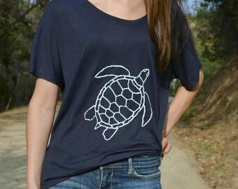 Flowy Navy and White Sea Turtle Tee. Sea Turtle Top. Nautical. Women's Gift. Sea Turtle Gift. Ethical Clohting. Trendy Women's Clothing
