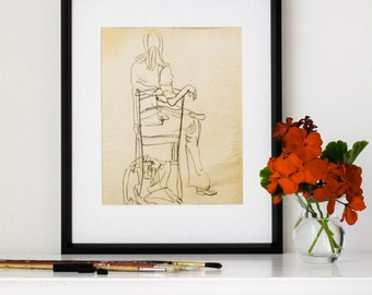 "Vintage Drawing, Giclee Print, Charcoal Drawing, Contour, Seated Woman, Eclectic Decor, Black and White Art, 1970s, 8""X10"" - ""Quirky Girl"""