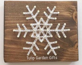 Snowflake String Art, String Art Snowflake, Snowflake Decor, Winter String Art, Winter Decor, Holiday Decor, Winter String Art, Stringart