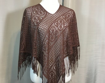 """Dark Brown Lace Cape/Cover Up with Long Fringe One Size Fits All,  28.5"""" Long Including Fringe, Hippie Poncho Previously 24 Dollars ON SALE"""