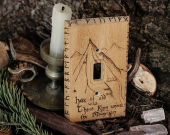 Hobbit Lonely Mountain Light Switch Cover, Lord of the Rings, LOTR, Bilbo, Gandalf, Dwarves, Smog, Home Decor