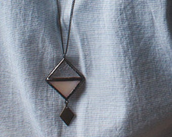 Lozange stained glass pendant