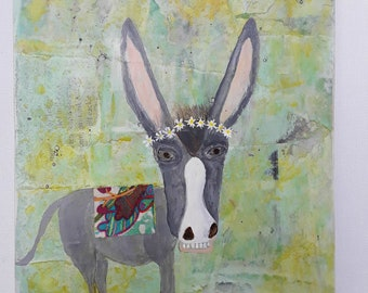Original/Mixed media/Art/Flowers/Farmhouse Decor/Wall Art/Whimsical/HumorousGift/Donkey Art/Animal/Nature