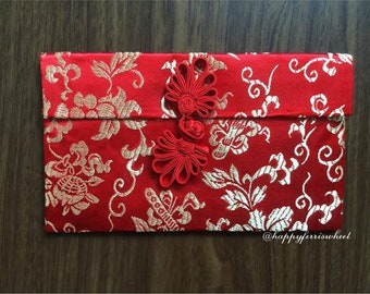 Chinese Wedding Red Envelope, Traditional Chinese Red pouch, Rayon