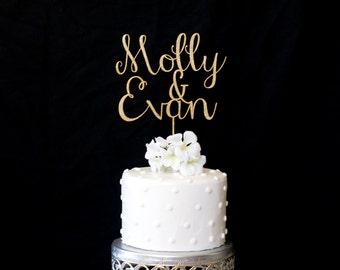 Custom Name & Name Wedding Cake Topper-Gold